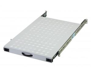 """19"""" Gerätefachboden ausziehbar / Schwerlast / 19"""" Montage vorne und hinten / verstellbar / 720mm"""